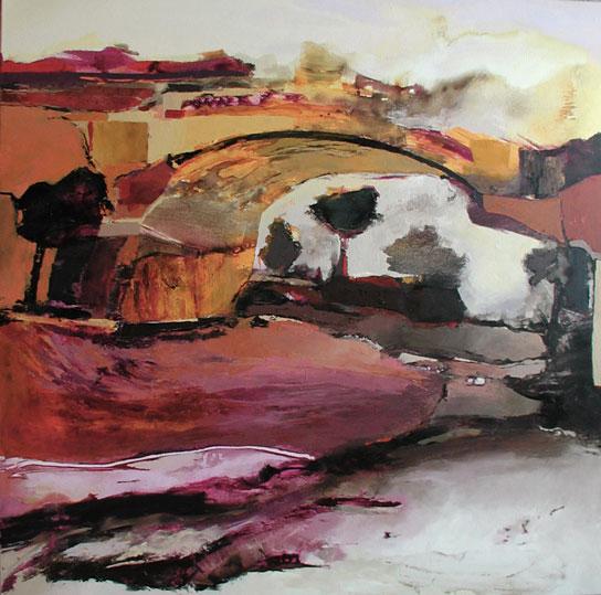 Sous les ponts,  toile de 100x100cm, huile, 2010