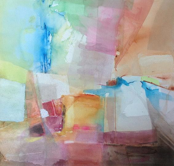 Trame n°9, 70x70cm, gesso et aquarelle, 2014
