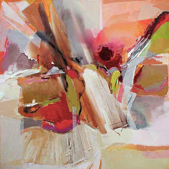 En cascade,  toile de 80x80cm, huile, 2010