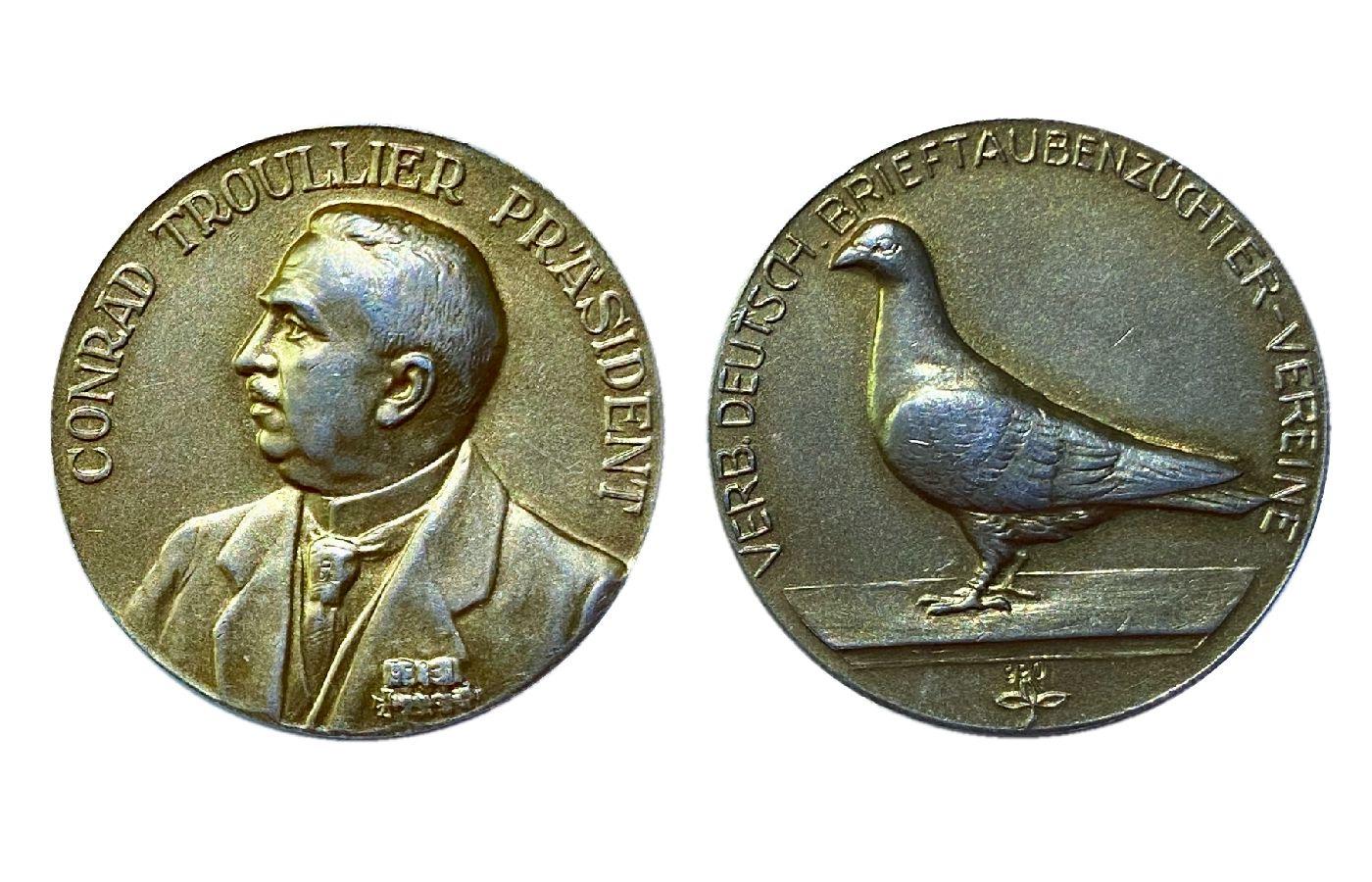 Medaille in Silber vergoldet mit Präsident Conrad Troullier