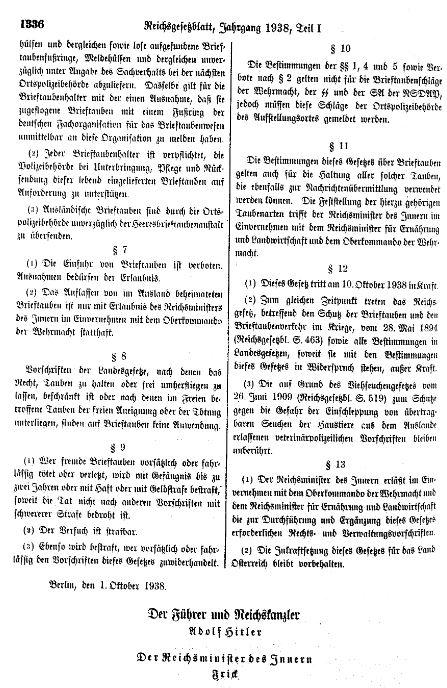 Verband Deutscher Brieftaubenzüchter, Conrad Troullier Medaille, Brieftaubenwesen, 1934, Brieftauben Historie, Olympia 1936, Brieftaubenschutzgesetz 1938