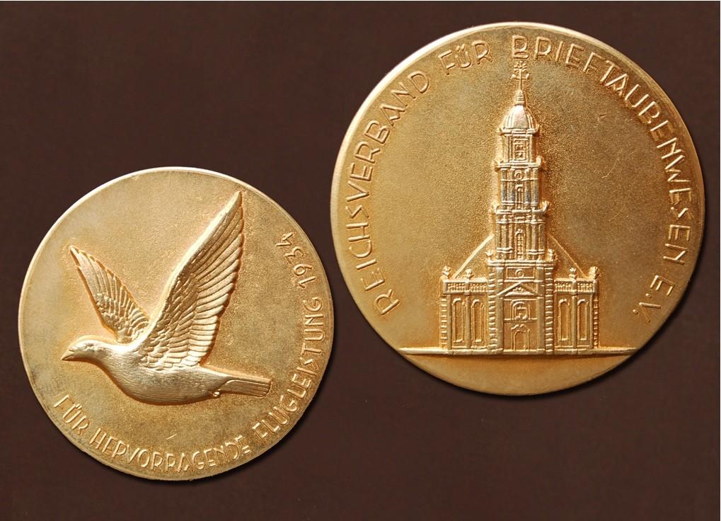 Goldmedaille des Reichverbands für Brieftaubenwesen e.V. aus 1934