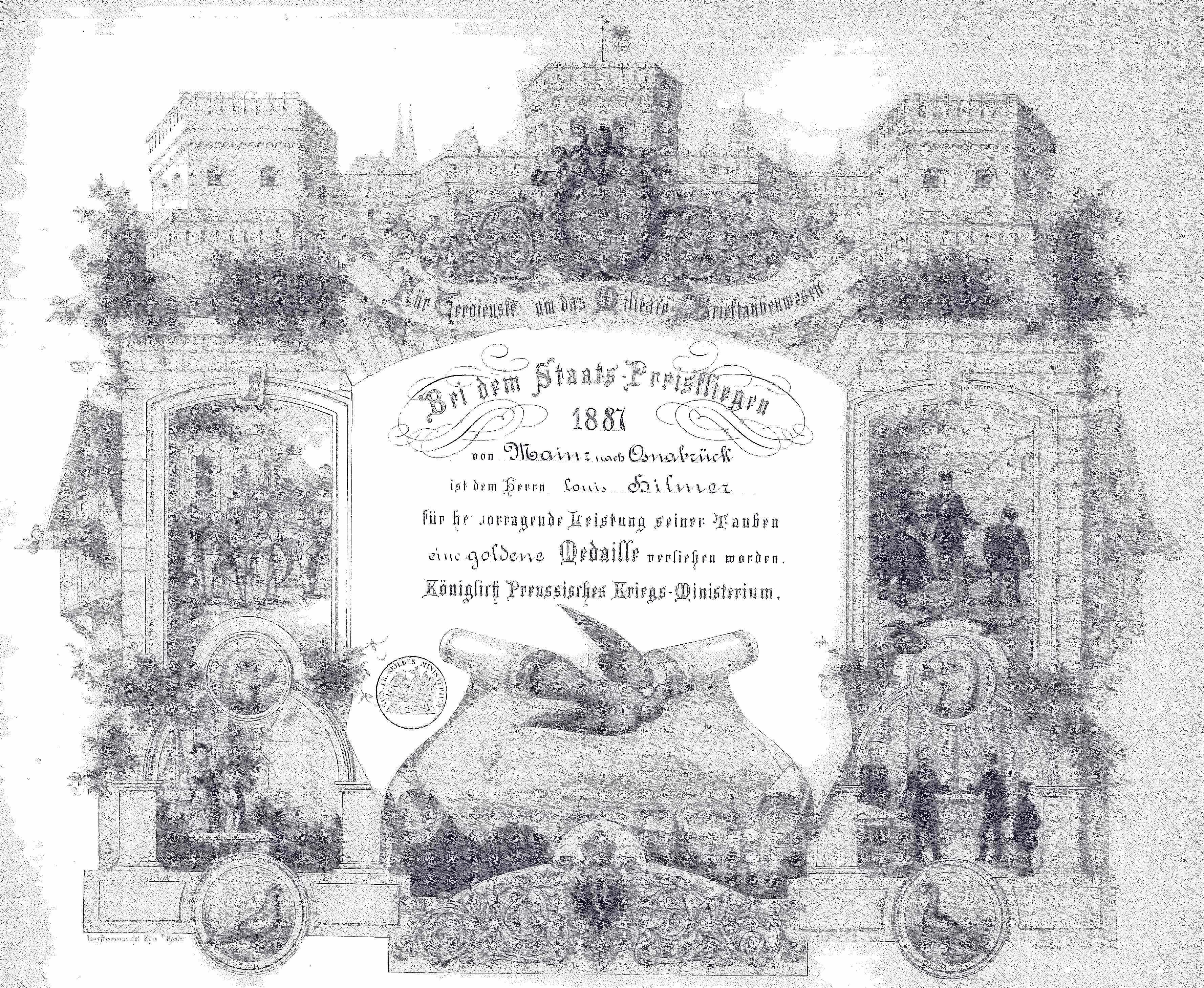 Diplom für Verdienste um das Militär-Brieftaubenwesen 1887, Verband Deutscher Brieftaubenzüchter, Geschichte der Brieftaube, Brieftaube