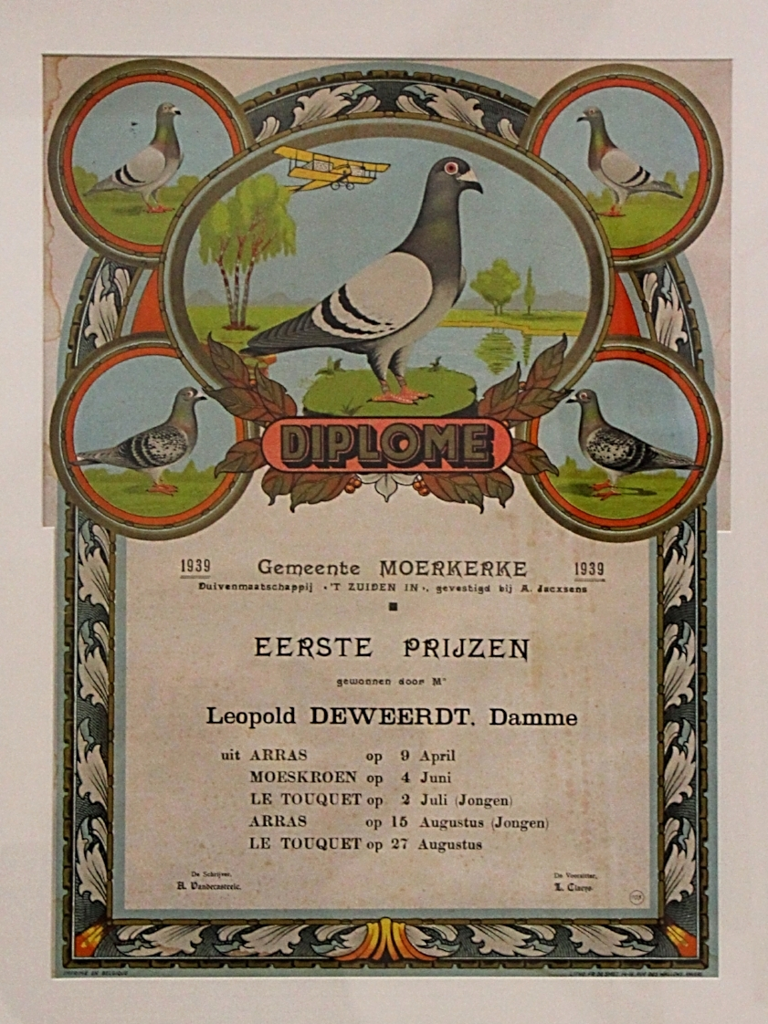 Auszeichnung der Gemeinde Damme (nähe Brügge/ Belgien) für 5 x 1. Preis im Jahr 1939