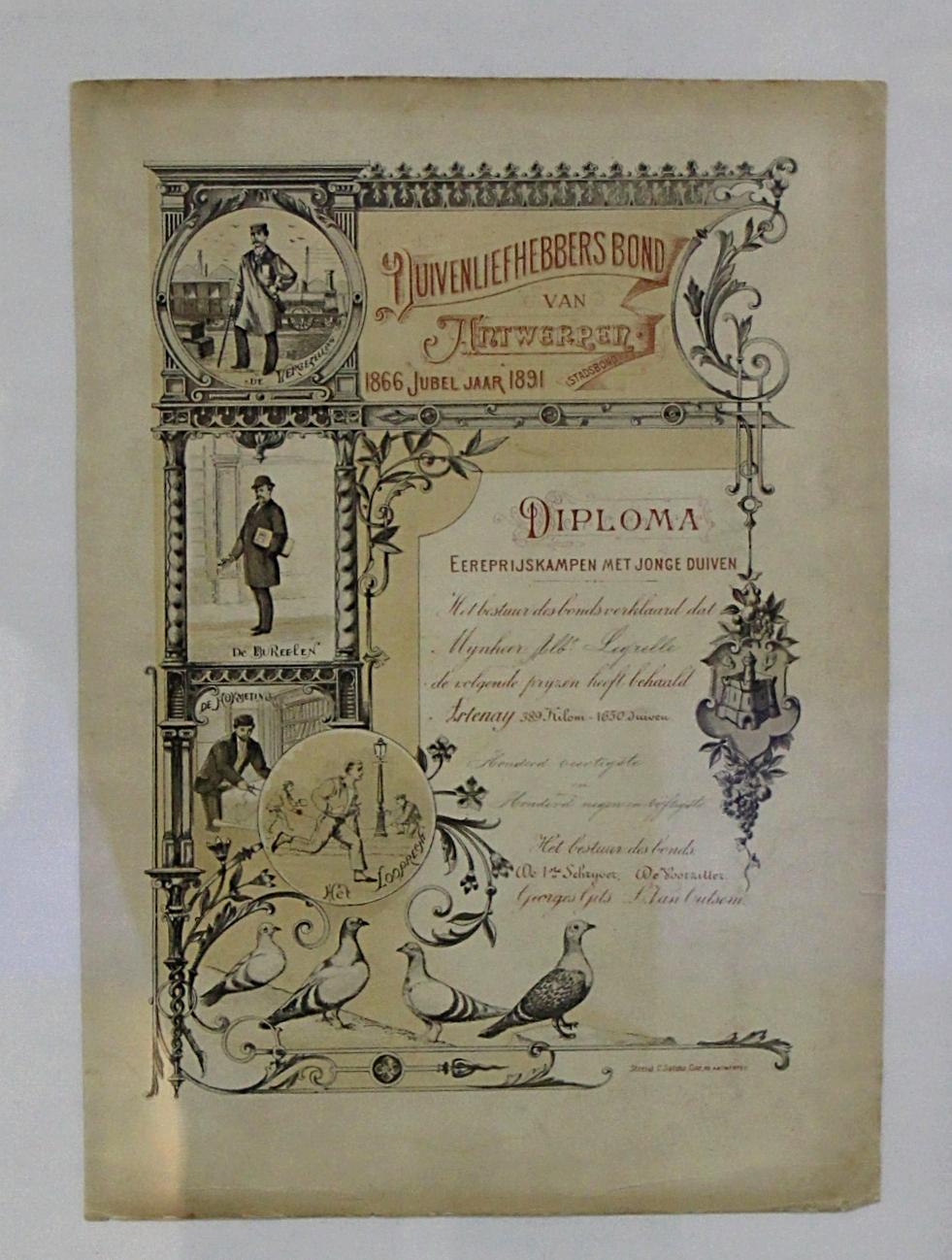 Diplom aus Antwerpen (Belgien) aus  dem Jahr 1891 für besondere Leistungen mit Jungtauben