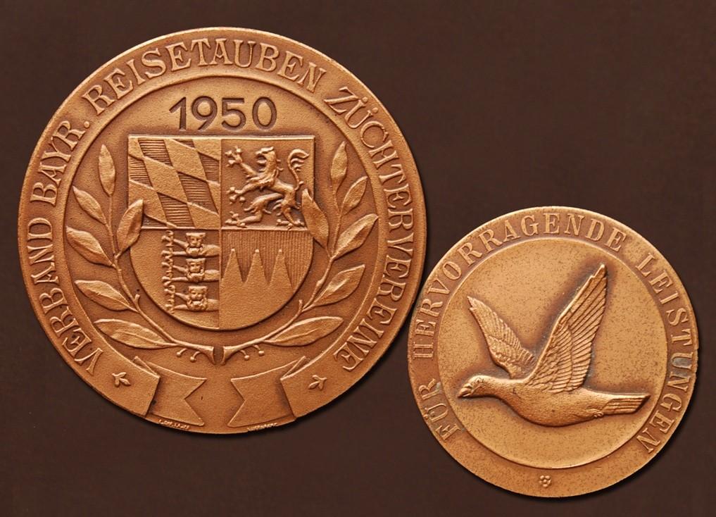 Bronzemedaille des Verbandes bayrischer Reisetauben-Züchtervereine aus 1950
