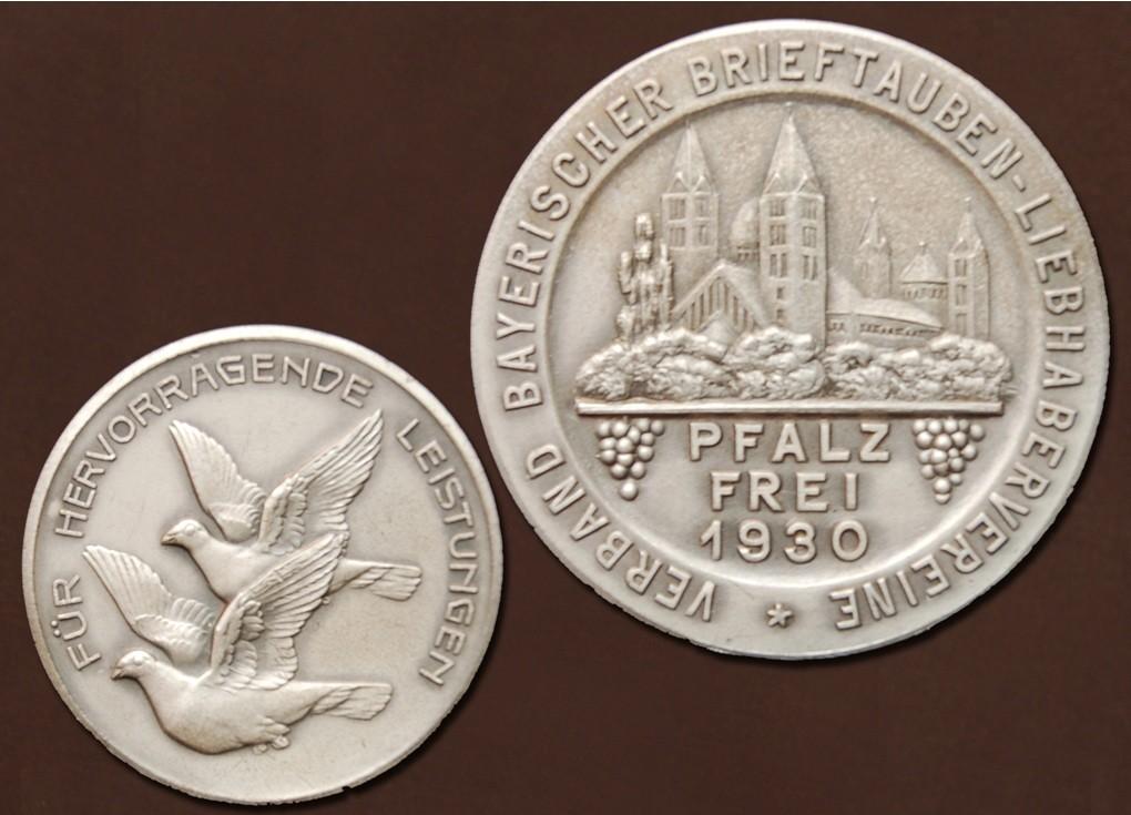 """""""Pfalz frei"""" Medaille des Verbandes bayrischer Brieftauben-Liebhaber-Vereine aus 1930"""