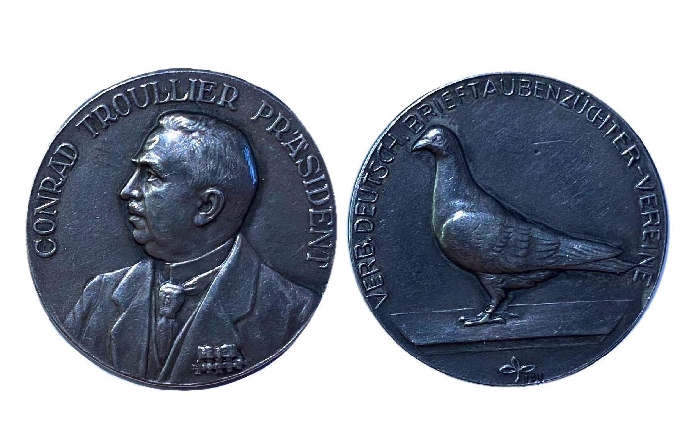 Medaille in Silber mit Präsident Conrad Troullier