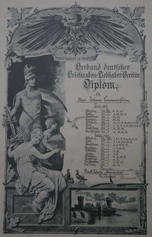 Diplom des Verbandes dt. Brieftauben-Liebhaber-Vereine aus dem Jahr 1908 und 1909