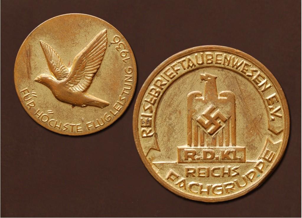 Goldmedaille der Reichsfachgruppe Reisebrieftaubenwesen e.V. aus 1936
