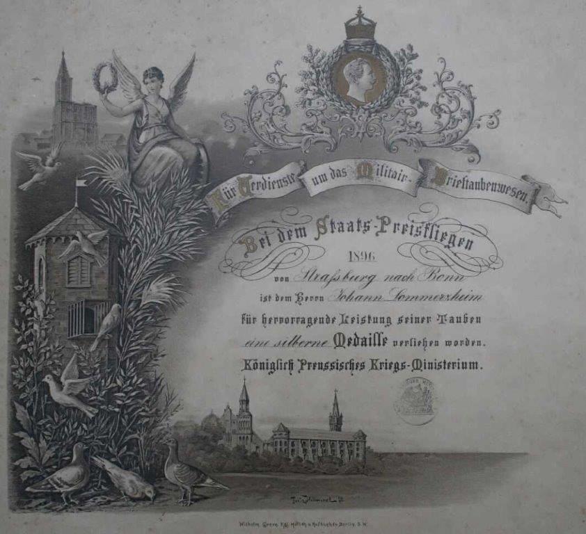 Diplom des Königlich-Preussischen-Kriegsministeriums für Verdienste um das Militär-Brieftaubenwesen mit der silbernen Medaille aus 1896
