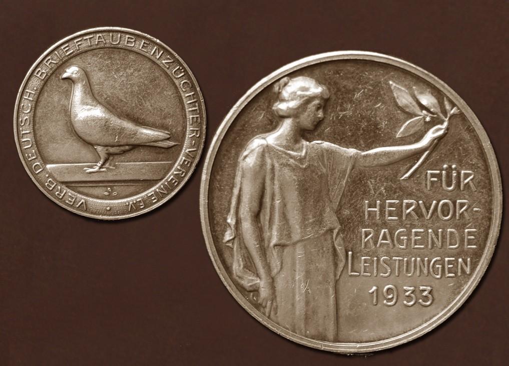 Silbermedaille des Verbandes Deutscher Brieftauben-Züchter-Vereine e.V. aus 1933