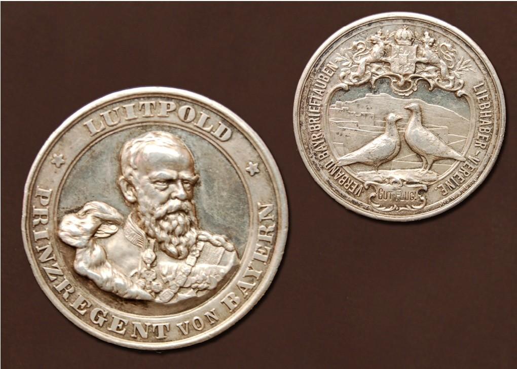 Luitpold-Medaille in silber des Verbandes bayrischer Brieftauben-Liebhaber-Vereine