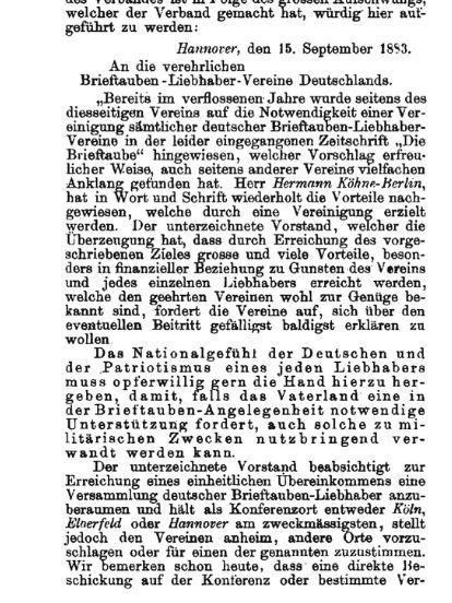 Deutscher Brieftaubenverband, Gründung Verband deutscher Brieftaubenzüchter, Gründung Verband deutscher brieftaubenliebhabervereine, Brieftaubenwesen historisch