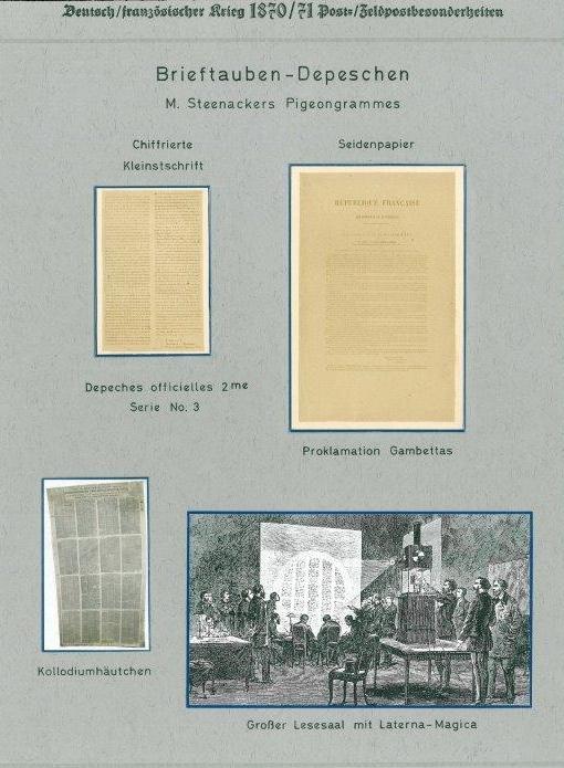 Brieftauben-Depeschen (Pigeongramme) aus dem deutsch-französischen Krieg 1870/1871 sowie Abbildung der Auswertung der eingetroffenen Depesche mit einer Laterna-Magica