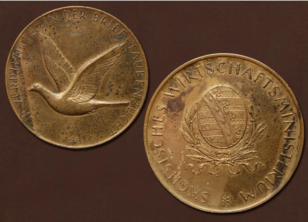 Bronzemedaille des Sächsischen Wirtschaftsministeriums für Verdienste in der Brieftaubenzucht
