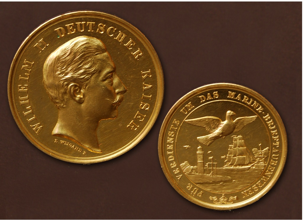 Kaiser Wilhelm II. - Goldmedaille für Verdienste um das Brieftauben-Marine-Wesen