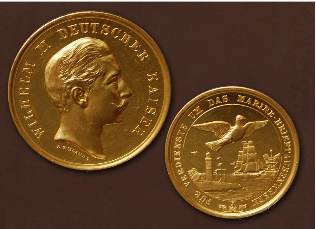 Kaiser Wilhelm II. - Goldmedaille für Verdienste um das Marine-Brieftaubenwesen