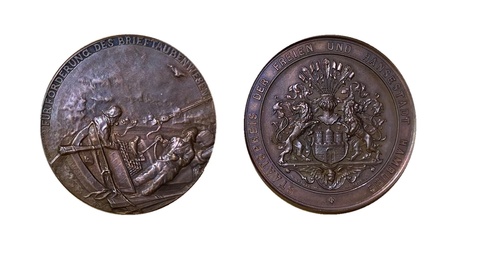 Staatspreis der Freien und Hansestadt Hamburg zur Förderung des Brieftaubenwesens in bronze