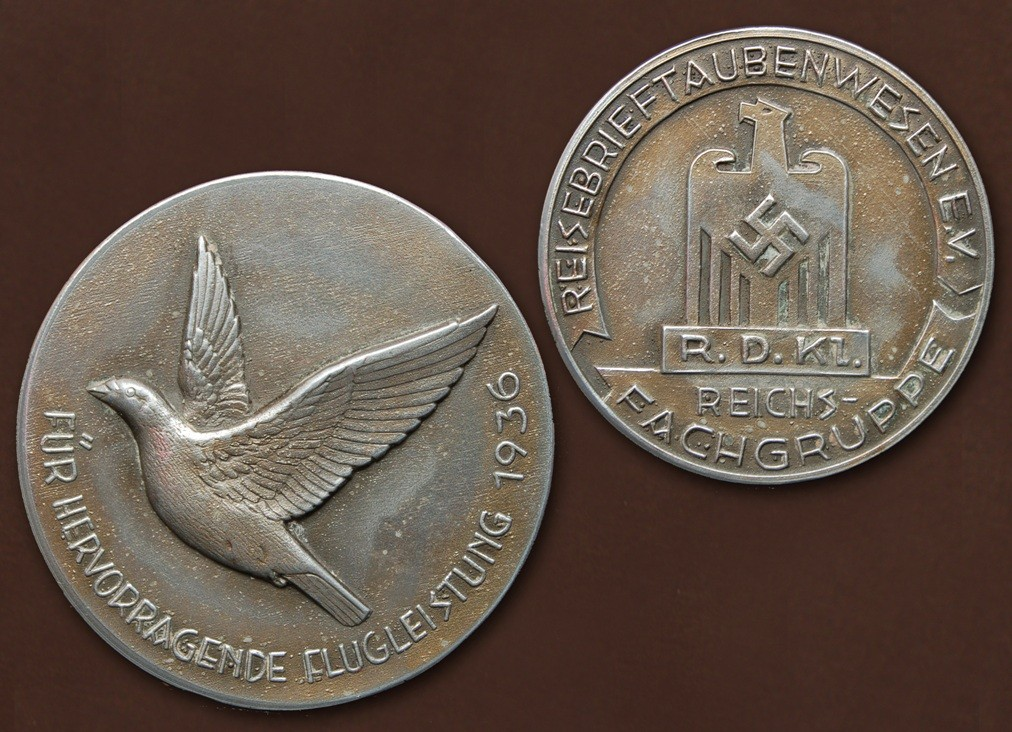Silbermedaille der Reichsfachgruppe Reisebrieftaubenwesen e.V. aus 1936
