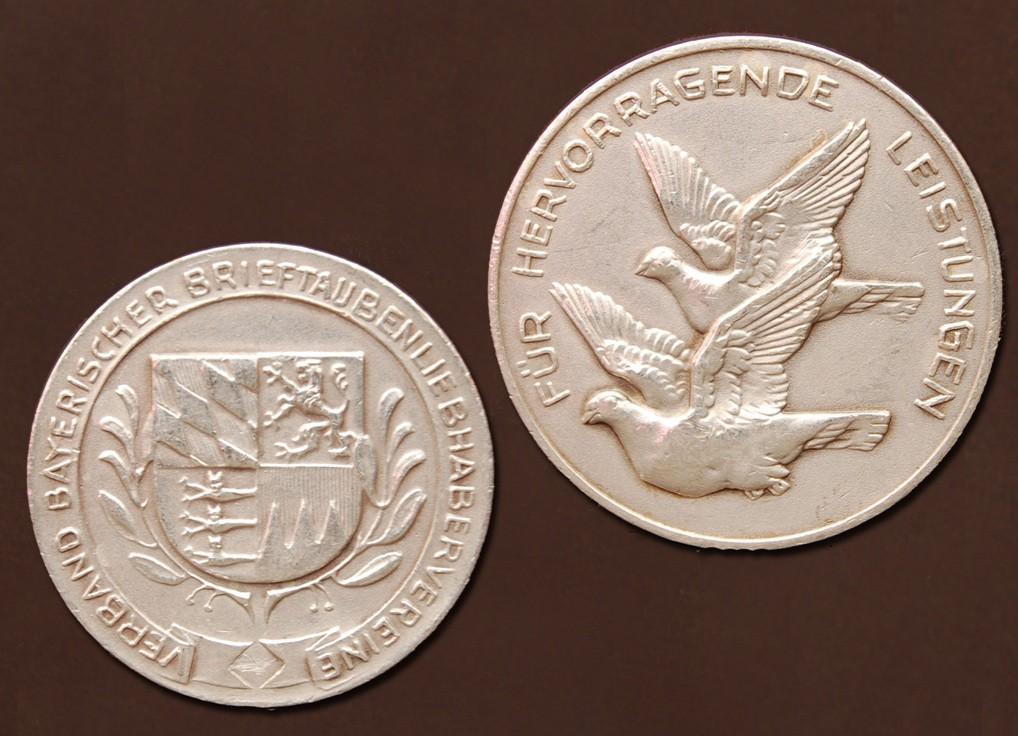 Silbermedaille des Verbandes bayrischer Brieftauben-Liebhaber-Vereine