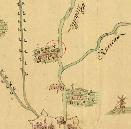 AGR, Cartes et Plans N° 1525, Carte figurative d'une partie des rivières de la Haine et de la Trouille et des ruisseaux y affluant depuis Mons jusqu'à Estinnes, 1772, dressée par J-E le Maire (extrait)