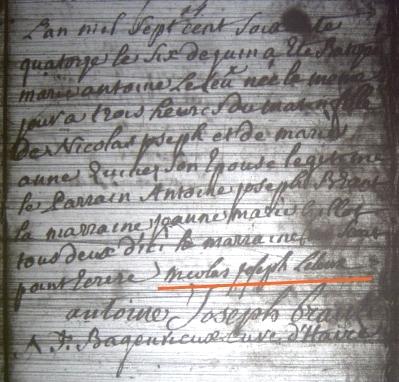 Source : Archives de l'Etat de Belgique, Mons, paroisse de Quévy-le-Petit, registre des décès