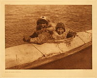 Foto von Edward E. Cutiss Inuit im Kajak