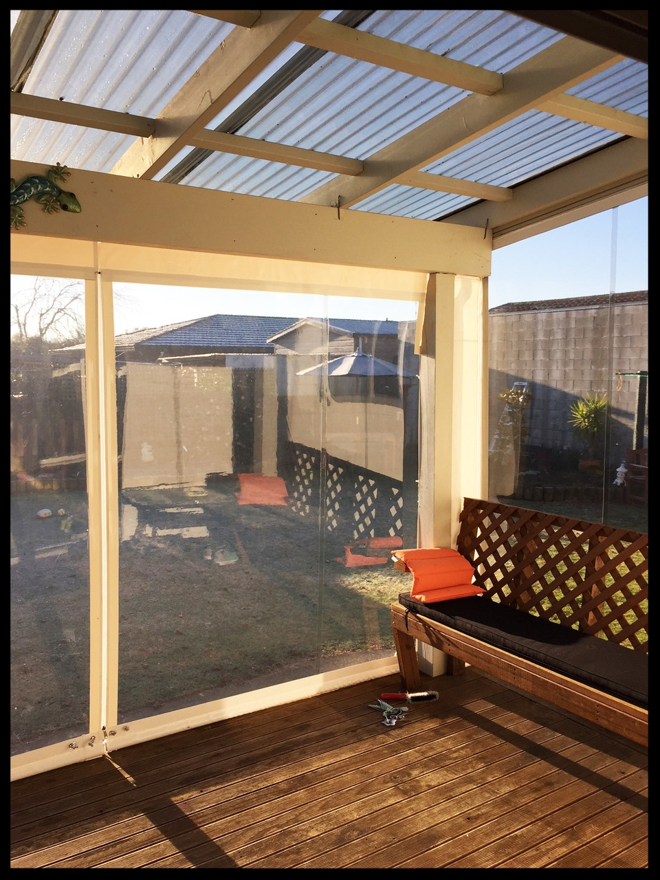 Clear Patio Blinds, Brightwater