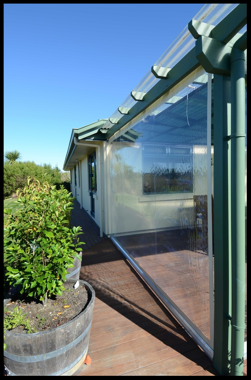 Clear PVC Outdoor Blinds, Upper Moutere, Nelson