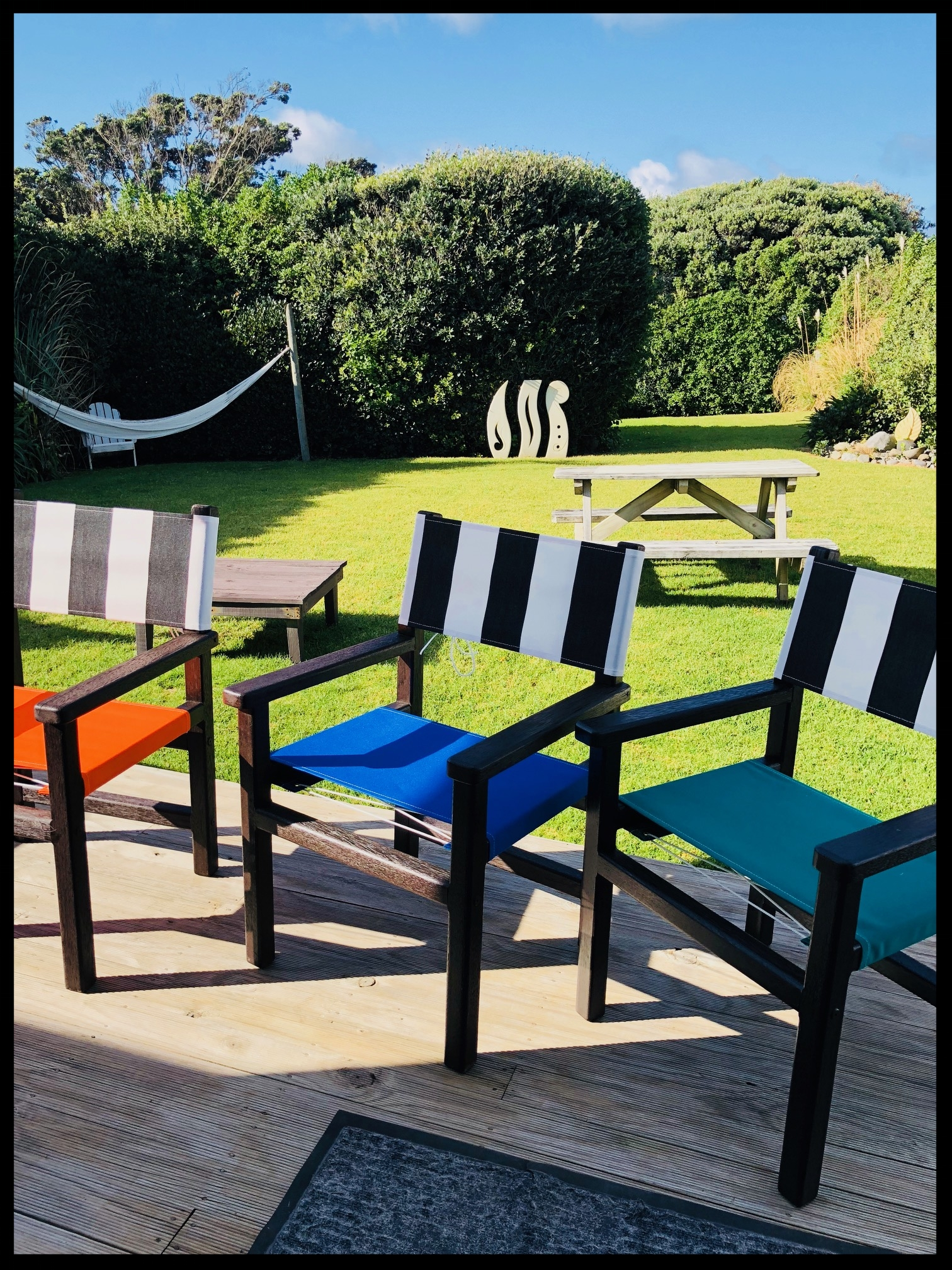 Outdoor canvas chairs