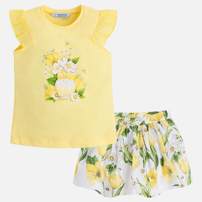 ecc6b4745 03993-047 Conjunto de falda rizada y camiseta con manga tableada para niña  mayoral. Niña 2 a 9 Años