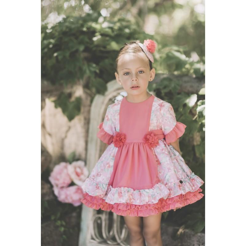 9cc12e9a6 2018-Vestido coral niña flores Dolce petit - Moda y ropa infantil ...