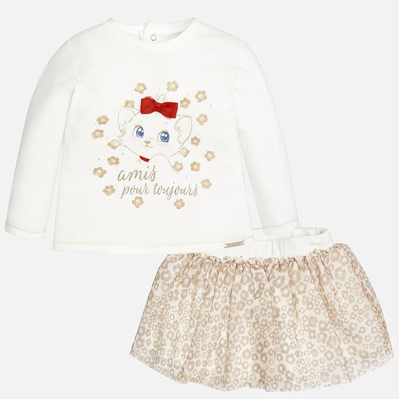 85ab1bcb1 2.959 092 Piedra Conjunto de bebé niña con falda estampada gatita Mayoral