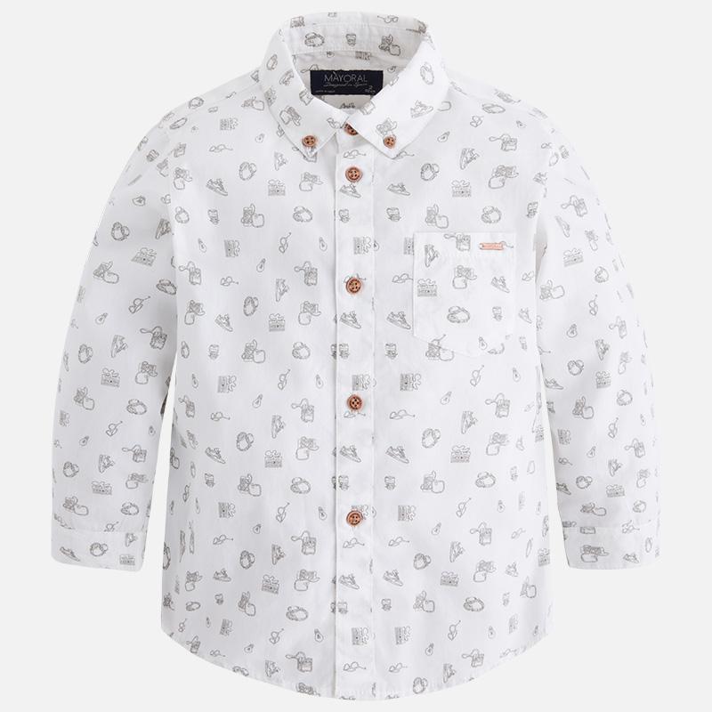 5ddb3a352 4.147 010 Blanco Camisa estampada de manga larga para niño Mayoral ...