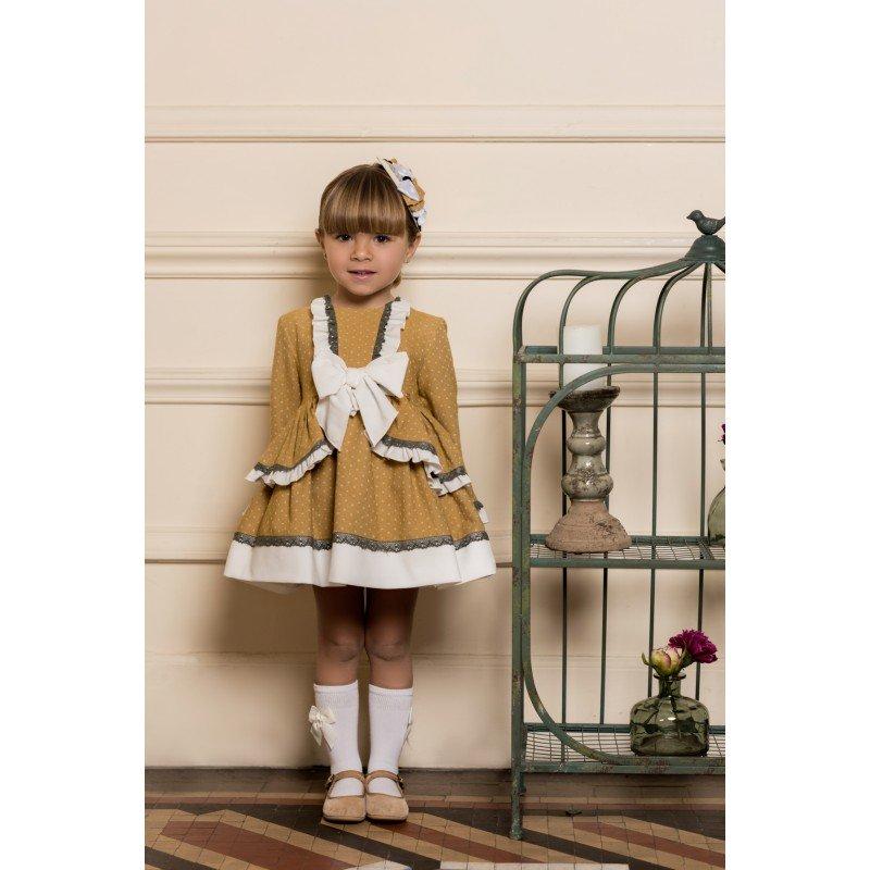 a245f667d7b6f 2019-Vestido niña Ocre Topos Dolce Petit - Moda y ropa infantil ...