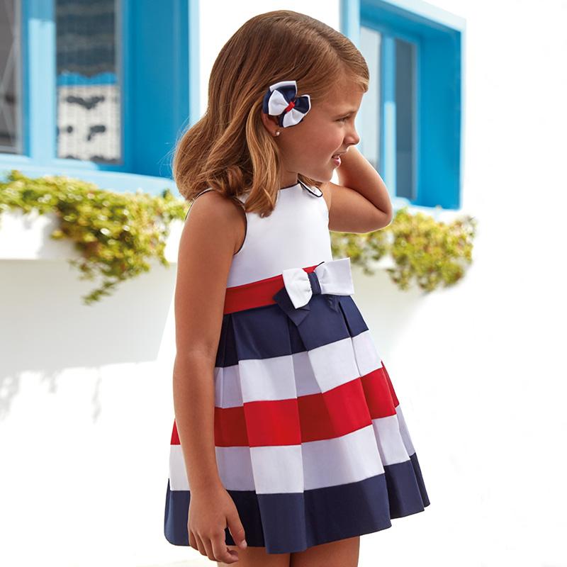 42f6d9775 03952-058 Vestido en popelín con fuelles para niña mayoral. Niña 3 a 9 Años