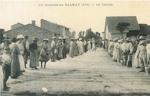 Incendie au Balmay, rue de la poste (reconstitution)