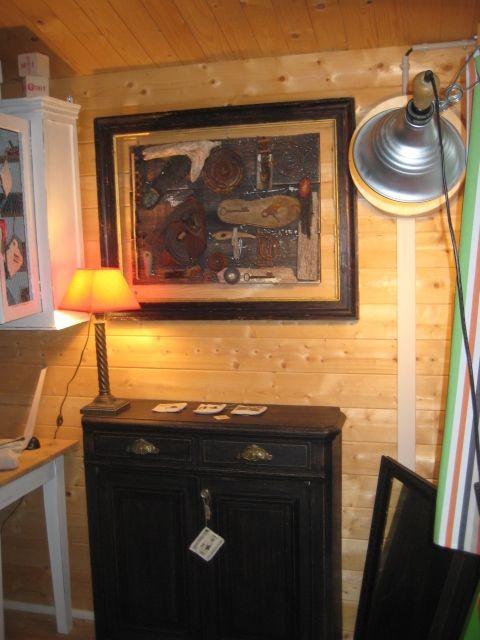 Petit buffet noir 2 portes 2 tiroirs (largeur 82 cm/profondeur 28 cm/hauteur 90cm) 150 €