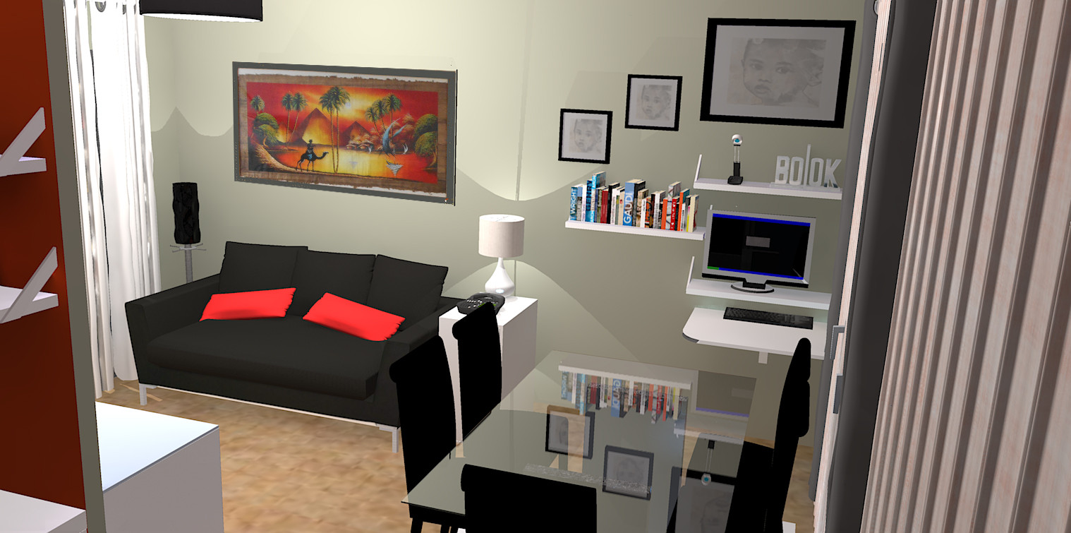 un espace à vivre bien défini avec en plus un espace bureau