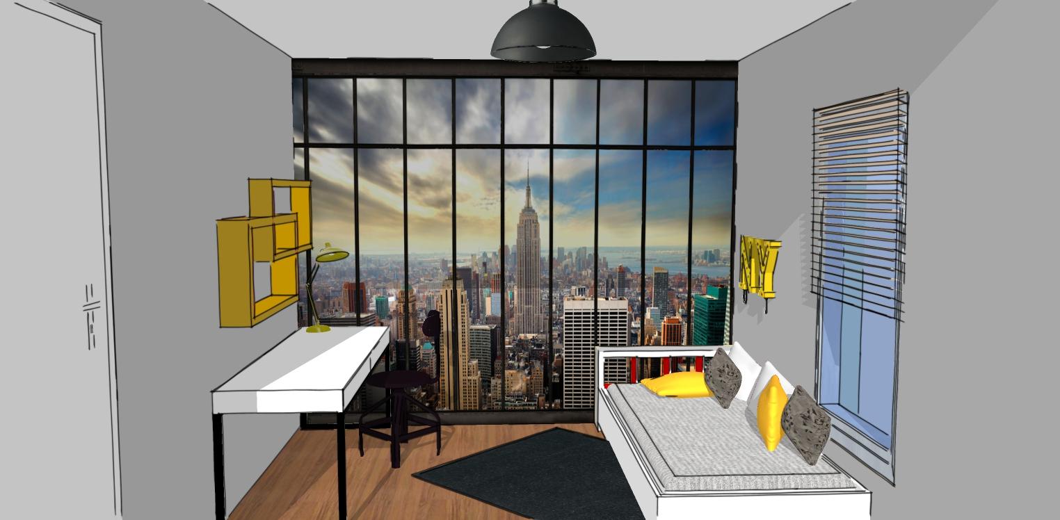"""chambre New York trompe l'œil """"id-claire décoration"""""""