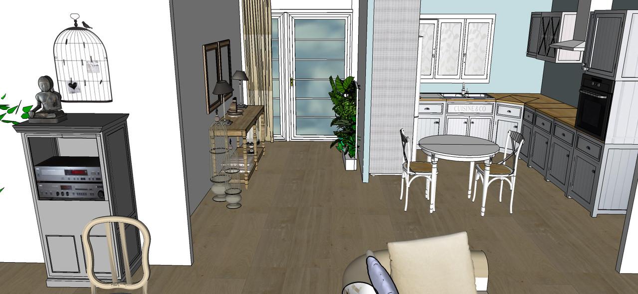 Vue couloir/cuisine 3D