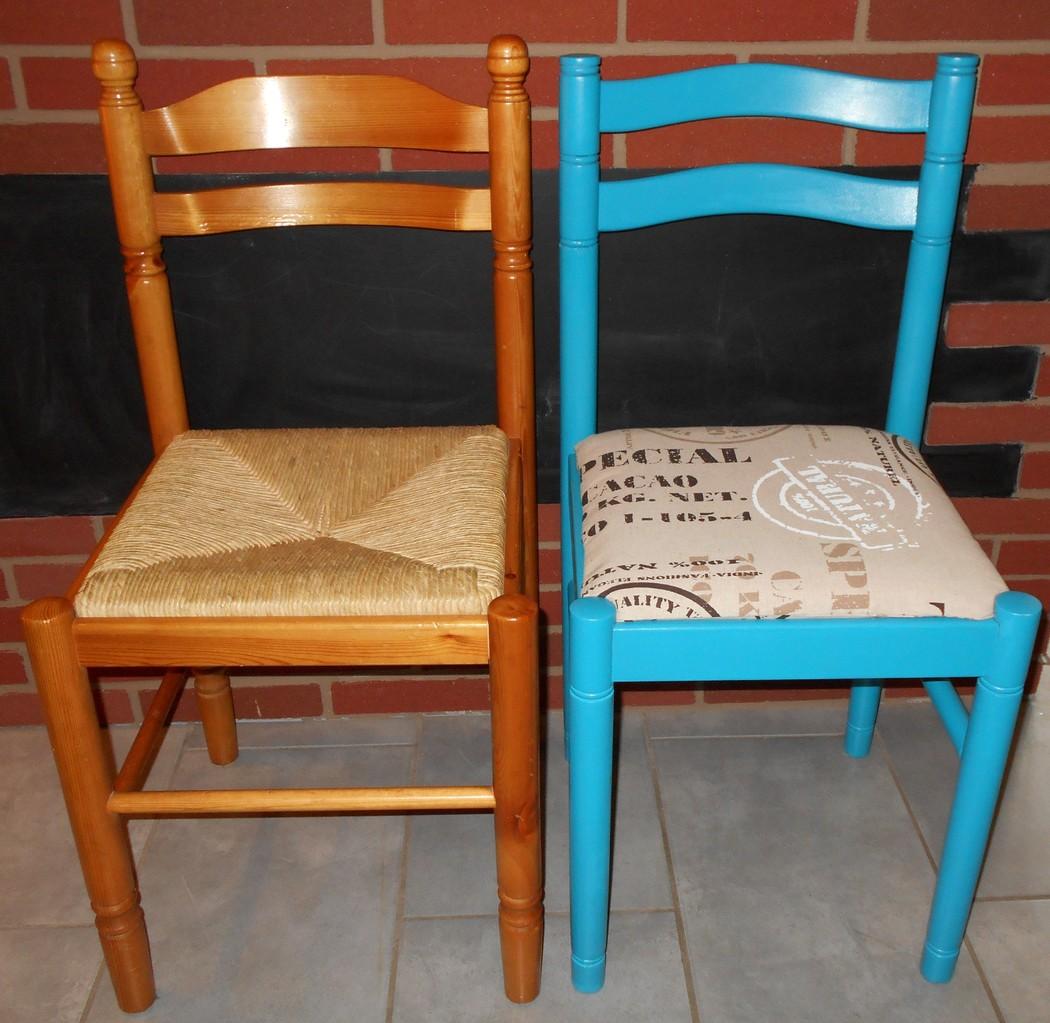 Diy relooking de chaises id claire d coration - Relooker des chaises en paille ...
