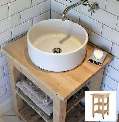 Un meuble lavabo sur une desserte Bekvam ( Ikéa ). Source photo : bobvila