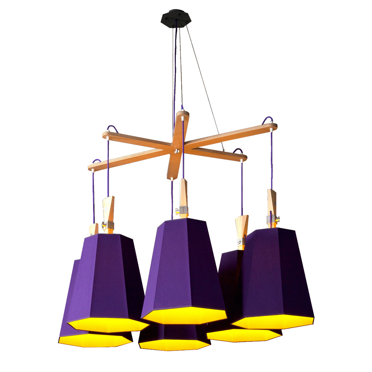 lustre et plafonnier Luxiole violet/jaune