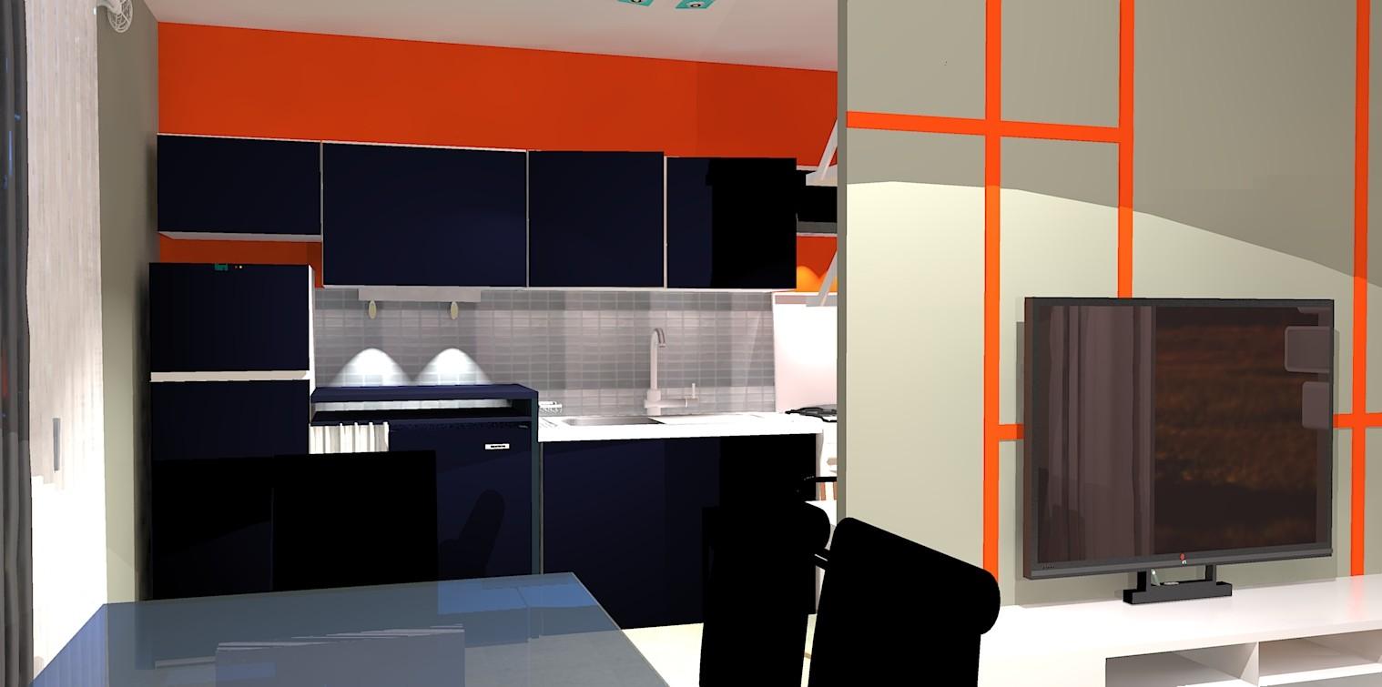 ouverture de l'espace à vivre sur une cuisine moderne