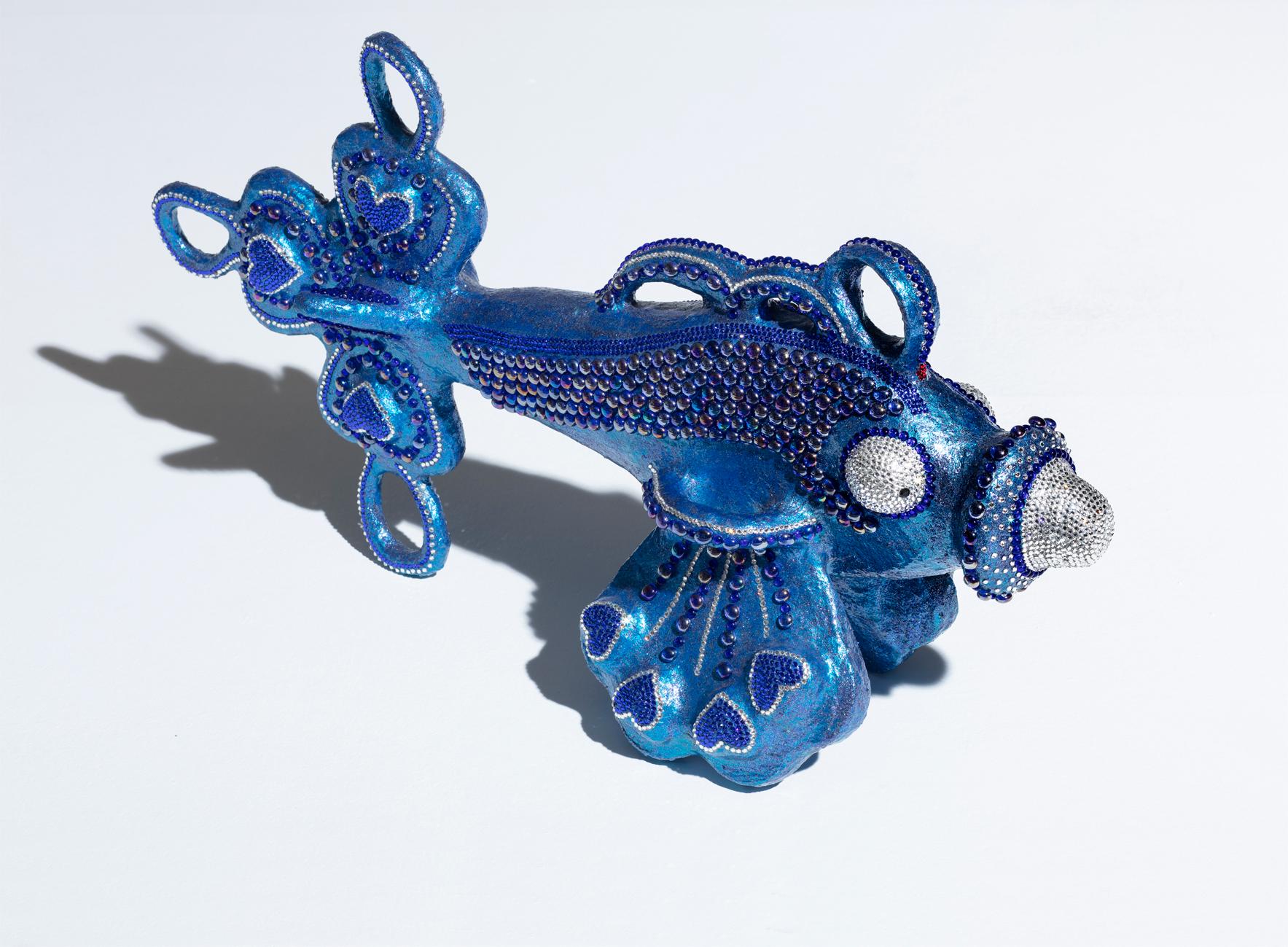 Fisch Blue groß besondere (geheime) Mixtur, Swarovskisteine Glassteine  Unikat 2019, 48/25/88 cm