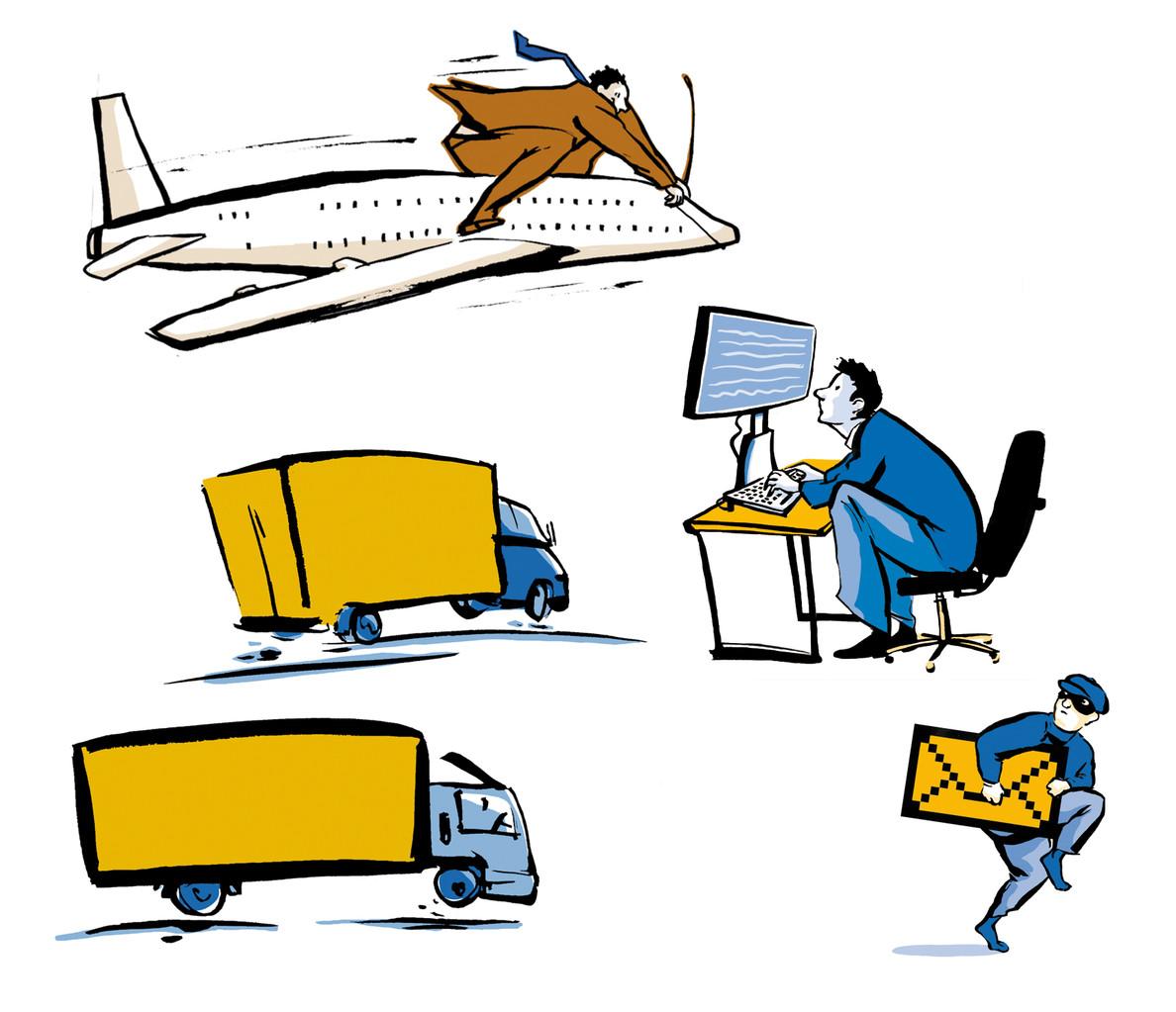 Illustrationen für Roland Rechtsschutz Magazin und WAZ, Ressort: Reise (Flugzeug)