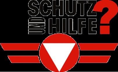Logo des Österreichischen Bundesheeres mit Text: Schutz und Hilfe?