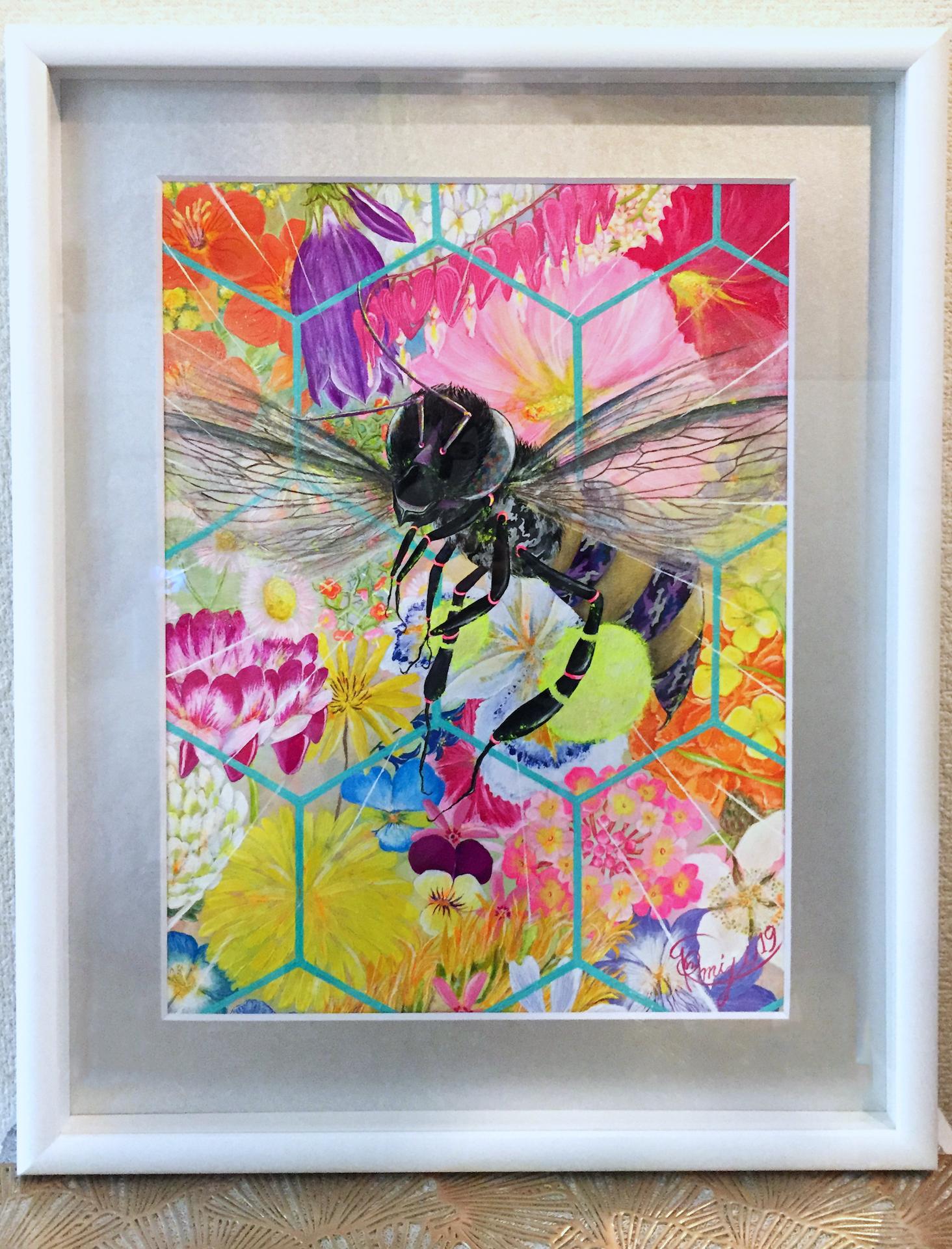 『 百花蜜 〜polyclonal honey〜 』acrylic on paper  (52.3cm×42.3cm/F6 including flame)